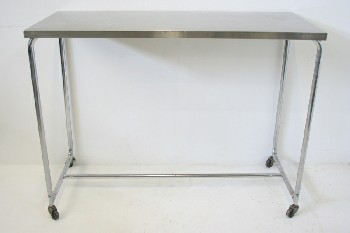 Table, Stainless Steel, ROUNDED TUBE FRAME,ROLLING, STAINLESS STEEL, SILVER