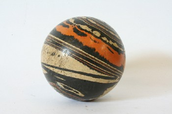 Sport, Bowling, VINTAGE BOWLING BALL W/ORANGE & WHITE SWIRLS , RUBBER, BLACK