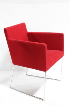 Chair, Side, MODERN,RED WOOL SEAT W/ARMS, CHROME CONNECTED LEGS , WOOL, RED