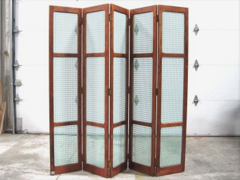 Screen, Misc, 5 PANEL ROOM DIVIDER, WOOD FRAME, BRASS LATCHES, LATTICE PATTERN CUTOUTS, WOOD, BROWN