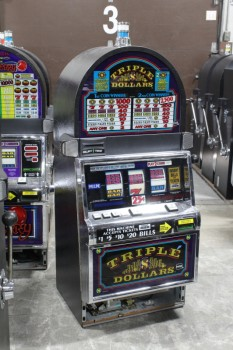 "Game, Casino , SLOT MACHINE, ROUNDED TOP, SIDE PULL LEVER W/BLACK BALL END, ""TRIPLE DOLLARS"" GRAPHIC PANEL, WHITE & BLUE TOP LIGHT - LIGHTS UP, CAN BE RIGGED TO WORK, CLEARABLE, METAL, BLACK"