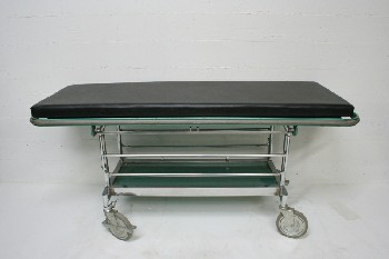 Medical, Stretcher, GURNEY,LWR SHELF,SIDE BARS, ROLLING (W/CHOICE OF MAT) - Bars Not Attached , METAL, GREEN