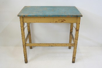 Table, Kitchen, RECTANGULAR W/BLUE TOP,DISTRESSED/AGED , WOOD, BROWN