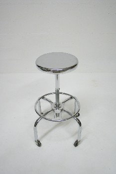 Stool, Stainless, MEDICAL,ROUND SEAT,ROLLING, STAINLESS STEEL, SILVER