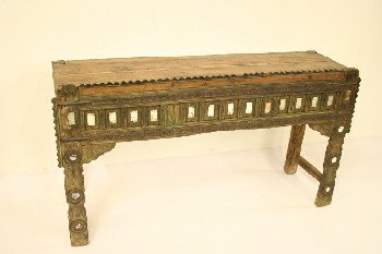 Table, Console, SOFA/HALL TABLE,CARVED W/SM MIRRORS,ORNATE, SERRATED FRONT EDGE, WOOD, BROWN
