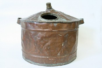 Cookware, Cauldron, CYLINDRICAL,ROUND OPENING & SPOUT,2 HANDLES,DENTED, VERDI-GRIS/PATINA, AGED , COPPER, COPPER