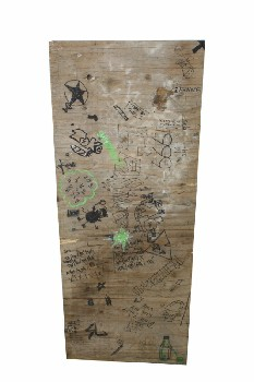 Board, Misc, BOARD W/TEENAGE DRUG SLANG & DRAWINGS ALL OVER, WOOD, BROWN