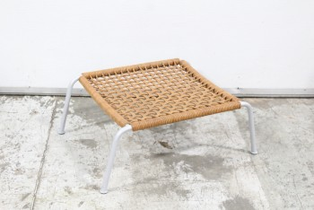Stool, Ottoman, OTTOMAN TO EARLY 21ST CENTURY MODERN EASY CHAIR, WOVEN LEATHER, LOW & WIDE PROPORTION, GREY METAL LEGS, MATCHES FROG CHAIR BY PIERO LISSONI, LEATHER, BROWN