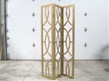 Screen, 3 Panel, ART NOUVEAU/DECO STYLE CUTOUTS, WOOD, GOLD