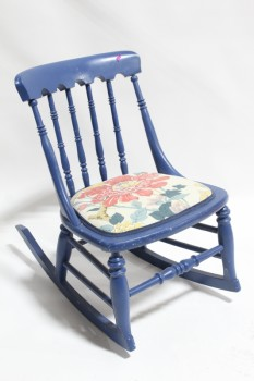 Chair, Child's, SMALL ROCKER, KID SIZE, NO ARMS, TURNED SPINDLES, FLORAL UPHOLSTERED SEAT, WOOD, BLUE