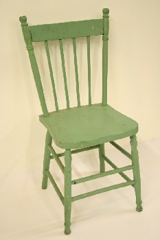 Chair, Dining, KITCHEN,4 SPINDLE BACK,TURNED LEGS, WOOD, GREEN