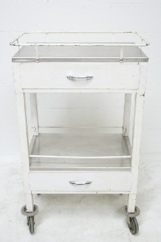 Table, Bedside, 2 LEVELS W/RIMS,2 DRAWERS,ROLLING, METAL, WHITE
