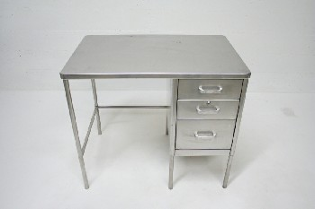Desk, Metal, 3 DRAWERS, STAINLESS STEEL, SILVER
