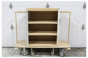 Cart, Cleaning, 3 SHELVES,END HANDLES, ROLLING, PLASTIC, BEIGE