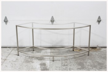 Shelf, Misc, BRUSHED,CURVED,PLEXI TOP *CAN STAND ALONE OR AS PART OF 4 OR 8 PC CIRCULAR MULTI LEVEL DISPLAY*, METAL, SILVER