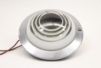 Lighting, Wallmount, VINTAGE RECESSED LIGHT, ROUND W/WHITE STRIPES, CEILING OR WALL MOUNT, METAL, SILVER