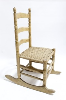 Chair, Rocking, ARMLESS ROCKER,WOOD FRAME,TURNED POSTS & RUNGS,3 SLAT BACK, WOVEN SEAT , WOOD, BROWN