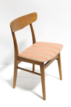 Chair, Dining, ROUNDED BACK REST,STRIPED CUSHION SEAT , WOOD, BROWN