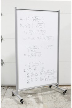 Board, Dry Erase, FREESTANDING,WHITE BOTH SIDES,GREY METAL FRAME, ROLLING/MOBILE , METAL, GREY