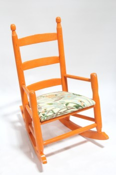 Chair, Child's, SMALL ROCKER W/ARMS, KID SIZE, SLAT BACK, FLORAL UPHOLSTERED SEAT, WOOD, ORANGE