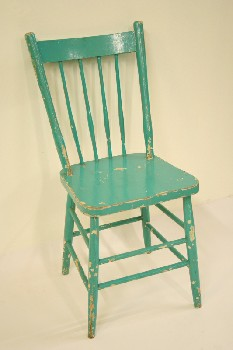 Chair, Dining, KITCHEN,4 SPINDLE BACK, WOOD, BLUE