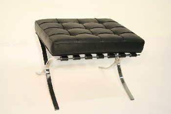 Stool, Ottoman, TUFTED CUSHION, CHROME FRAME & LEGS, MODERN REPRODUCTION IN THE STYLE OF MIES VAN DER ROHE BARCELONA, LEATHER, BLACK
