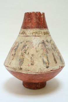 Vase, Floor, INVERTED CONE SHAPE, FADED ANCIENT IMAGES, TERRA COTTA, MULTI-COLORED