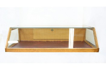 Cabinet, Display, OAK STORE COUNTERTOP SHOWCASE,GLASS SLANTED FRONT TOP & SIDES, BACK FLIP DOWN DOOR , WOOD, BROWN