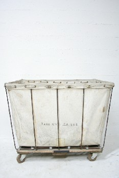 Laundry, Hamper, INDUSTRIAL,CANVAS HAMPER W/WOOD FRAME,ROLLING , CANVAS, OFFWHITE