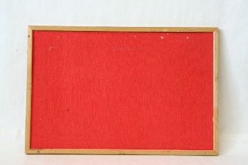Board, Pin, BULLETIN BOARD,RED TEXTURED FABRIC W/WOOD FRAME , WOOD, RED