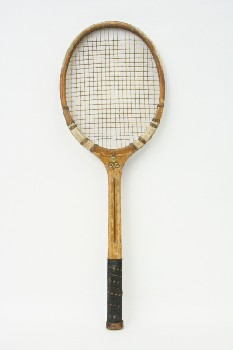 Sport, Tennis, RACQUET,NO NAME,W/BLACK LEATHER GRIP,TAPED TOP, WOOD, TAN