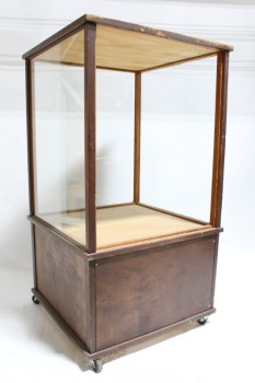 Cabinet, Display, STANDING SHOWCASE,3 SIDES GLASS W/OPEN BACK,WOOD TOP & BASE, ROLLING , WOOD, BROWN