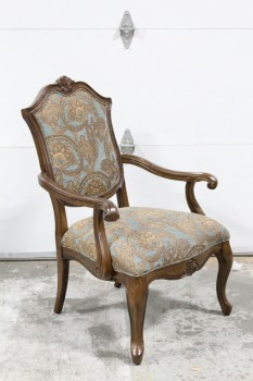 Chair, Armchair, BLUE & BROWN PATTERNED UPHOLSTERY, CARVED FRAME W/CURVED ARMS & LEGS, TRADITIONAL STYLE ACCENT CHAIR, FABRIC, BLUE