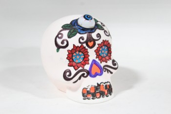 Decorative, Skull, MEXICAN SUGAR SKULL STYLE CALAVERA MASK, DAY OF THE DEAD, PAINTED, EYEBALL ADDED, LIGHTS UP DIFFERENT COLOURS (WORKS DEC 2019), CERAMIC, WHITE