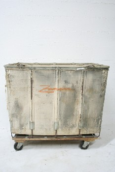 Laundry, Hamper, INDUSTRIAL,CANVAS HAMPER W/WOOD FRAME,ROLLING, CANVAS, OFFWHITE