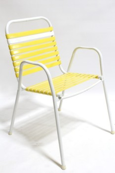 Chair, Lawn, VINTAGE OUTDOOR/LAWN,WHITE METAL TUBULAR FRAME, FLAT YELLOW BANDS , PLASTIC, YELLOW