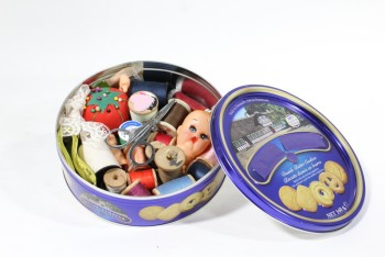 Sewing, Misc, COOKIE TIN W/LID,DRESSED W/SEWING & CRAFT SUPPLIES (GLUED IN), METAL, BLUE