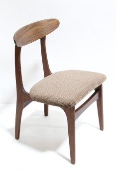 Chair, Dining, ROUNDED BACK REST,BROWN POLKA DOT CUSHION SEAT , WOOD, BROWN
