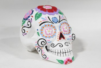 Decorative, Skull, MEXICAN SUGAR SKULL STYLE CALAVERA MASK, DAY OF THE DEAD, PAINTED, CERAMIC, WHITE