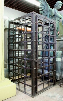 Cage, Iron , OLD STYLE MEDIEVAL LOOK,HUMAN SIZED,RECTANGULAR, HINGED DOOR, METAL BANDS, BOTTOMLESS, IRON, BLACK