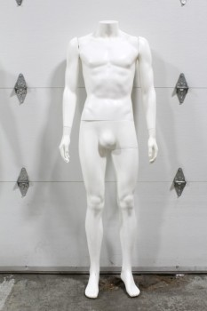 Store, Mannequin, MALE MANNEQUIN,NO HEAD, REMOVEABLE ARMS, NO STAND , PLASTIC, WHITE