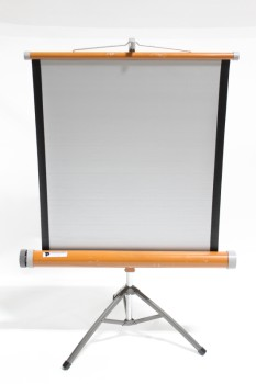 "Stand, Miscellaneous, VINTAGE PROJECTOR SCREEN, FOLDING, ADJUSTABLE HEIGHT, 28"" WIDE, 20x20"" BASE, METAL, ORANGE"
