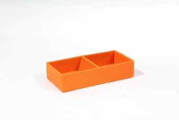 Desktop, Paper Clip Holder, PLAIN W/COMPARTMENTS, SILICONE, ORANGE