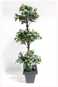 Plant, Fake, FAKE,APPROX 4', BLACK PLANTER, TOPIARY/ORNAMENTAL SHAPED, SMALL GREEN LEAVES , PLASTIC, GREEN