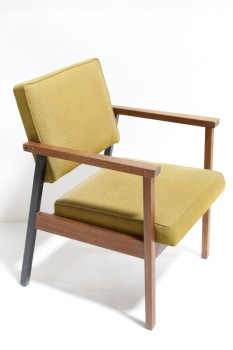 Chair, Client, TEXTURED GOLD COLOURED CUSHION SEAT & BACK, BROWN WOOD FRAME W/BLACK BACK LEGS , WOOD, BROWN