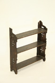 Shelf, Wallmount, OAK, 3 SHELVES W/CUT OUT DESIGNS ON SIDES, OLD STYLE/VINTAGE, WOOD, BROWN
