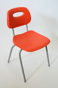 Chair, Stackable, MOLDED SEAT W/GREY LEGS,SEAT BACK CUTOUT, ARMLESS , PLASTIC, ORANGE