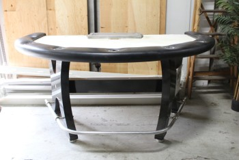 Table, Casino, BLACKJACK *Felt Is Removed & Can Be Professionally Changed For Each Production*, WOOD, BLACK