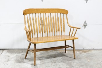 Bench, Slat Back, ROUNDED HIGH BACK & ARMS, SOLID WOOD , WOOD, BROWN