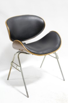 Chair, Side, MODERN STYLE MOLDED WOOD W/BLACK CUSHIONED SEAT & BACK, GREY METAL LEGS, LEATHER, BLACK